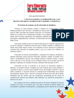 """Declaración Foro Itinerante """"Indepencia, Socialismo y Paz"""""""