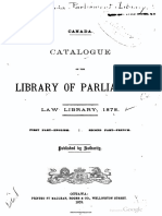 Canada Catalogue of the Library of Parliament Law Library 1878