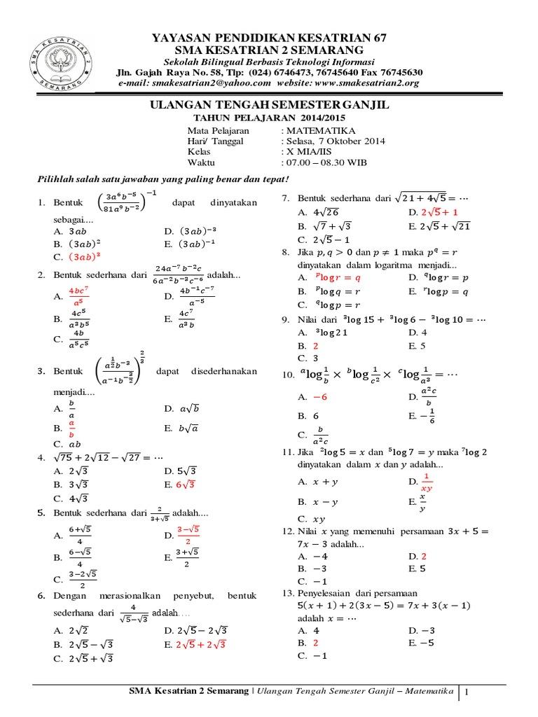 Soal Matematika Wajib Kelas 10 Semester 2 Dan Jawabannya Kunci Dunia