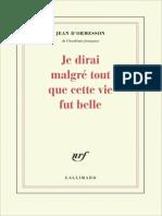 Jean d_Ormesson - Je dirai malgré tout que cette vie fut belle