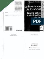 Donzelot La Invencion de Lo Social