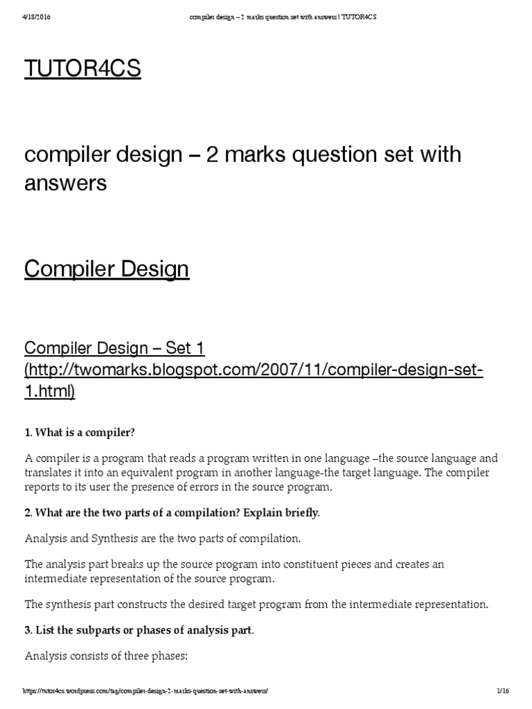compiler design – 2 marks question set with answers _ TUTOR4CS.pdf |  Parsing | Compiler