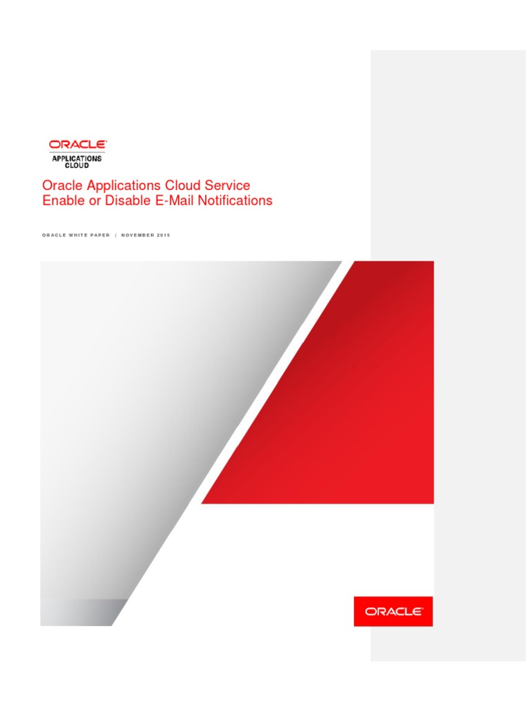 Oracle Applications Cloud Enable or Disable Email Notifications