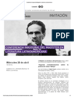Conferencia Inaugural del Magíster en Literatura Latinoamericana
