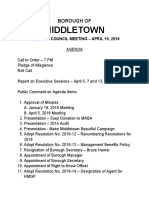Agenda for April 19 2016 Middletown Borough Council meeting
