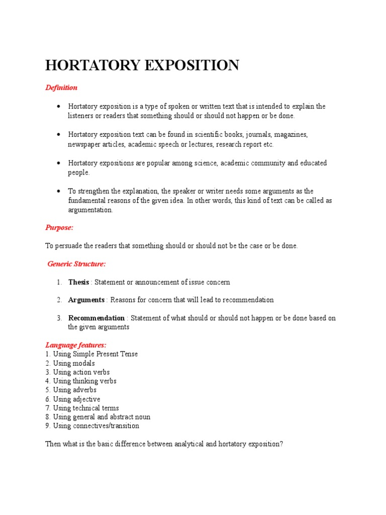 English worksheets: hortatory exposition-reading txt and vocabulary.