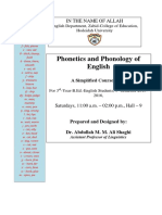 Phonetics and Phonology of English Simplified Coursebook by by Dr Shaghi 2015 2016