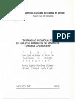 Distancias individuales en grupos cautivos de Macacos (Macaca arctoides)