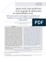 Autoestima y Apoyo Social Como Predictor