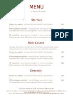 menu for webquest