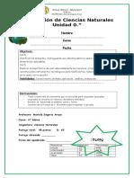 Evaluación de Ciencias Naturales Unidad 0, 4° básico