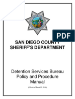 20160310 San Diego County Sheriff's Detention Service Policy and Procedure Manual