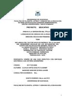 INFLUENCIA DEL FACTOR SOCIO ECONÓMICO  EN LA CALIDAD  DEL  DESEMPEÑO  ESCOLAR  EN  LOS  ESTUDIANTES  DEL QUINTO AÑO DE EDUCACIÓN GENERAL BÁSICA DE