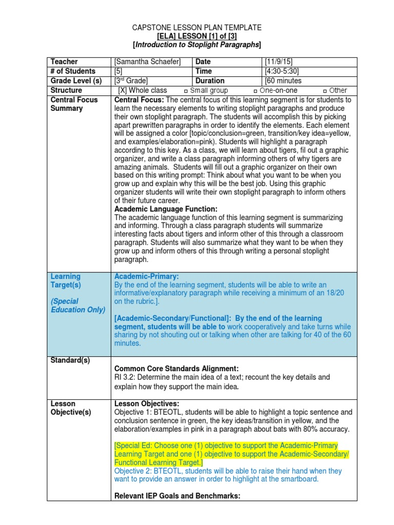 Learning Segment Ela Paragraph Educational Assessment - Special ed lesson plan template