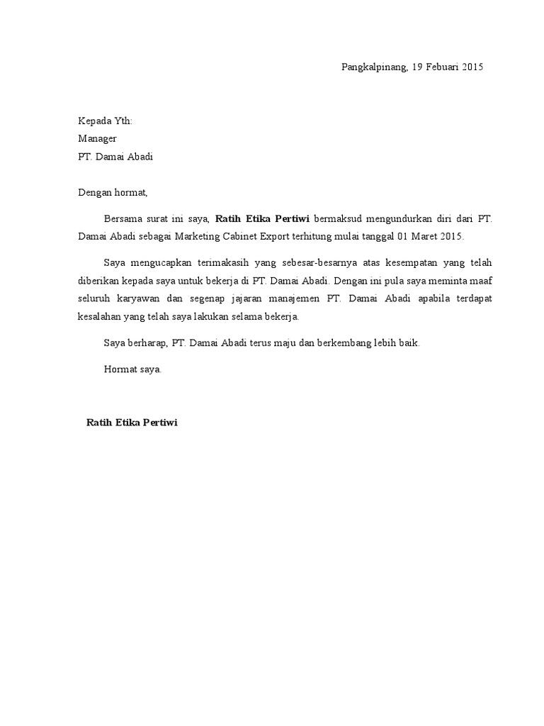 5 Contoh Surat Pengunduran Diri Resign Dari Tempat Kerja Doc