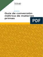 Guía de Conversión Metrica Materias Primas