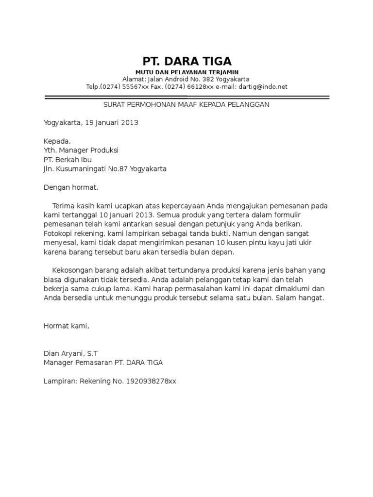 Surat Permohonan Maaf Resmi Dalam Bahasa Inggris Surat Rasmi 1