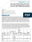 Medtronic Announces the Pricing Terms of Its Cash Tender Offer of Certain Outstanding Debt Securities Issued by Medtronic, Inc. and Covidien International Finance S