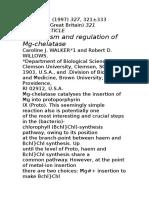 Mechanism and Regulation Mg