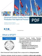 Supplier APQP Process Training (in-Depth)