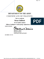 Brian Ghilliotti Afghanistan related military training