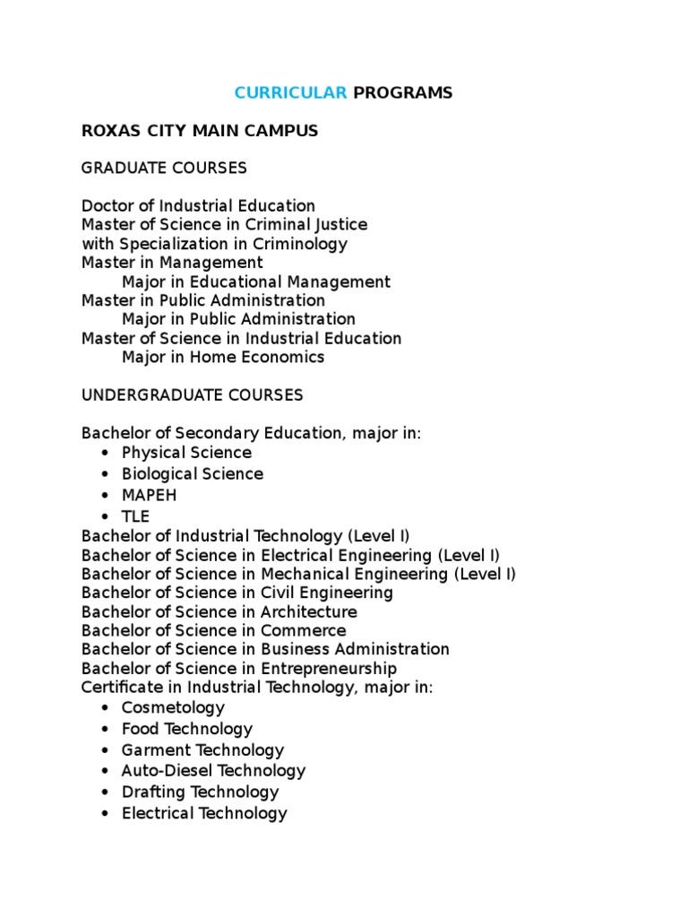 Capsu System Curricular Programs Undergraduate Education