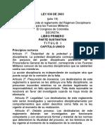 LEY 836 DE 2003 REGIMEN DISCIPLINARIO DE LAS FFMM.doc