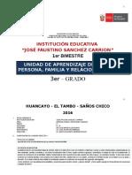 Unidad de Aprendizaje 1er Bimestre PFRH 3° 2016