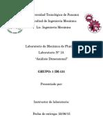 LAB 10 Mecanica de Fluidos, Análisis Dimensional