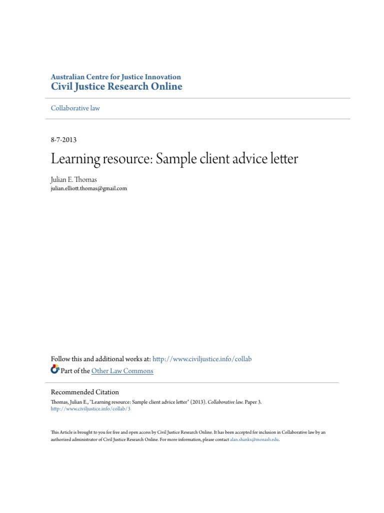 Learning resource sample client advice letter mediation negotiation altavistaventures Choice Image