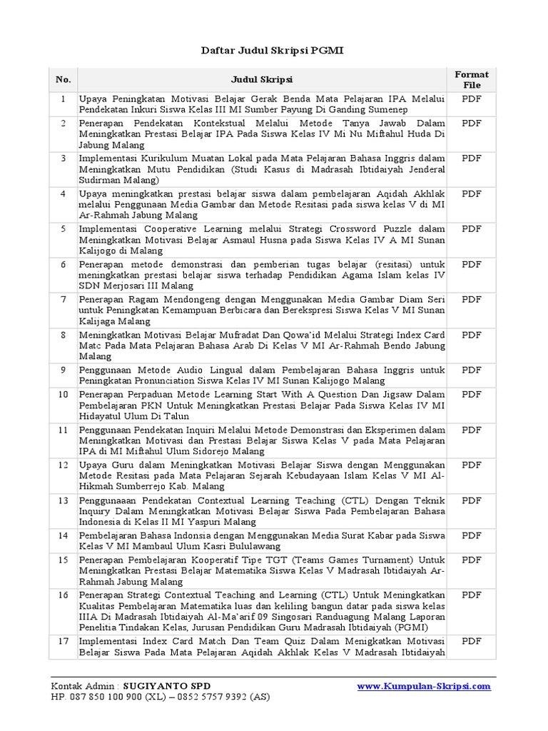 Daftar Judul Skripsi Pgmi