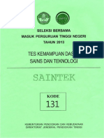 Naskah Soal SBMPTN 2013 Tes Kemampuan Dasar Sains Dan Teknologi (TKD Saintek) Kode Soal 131 by [Pak-Anang.blogspot.com]