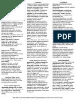 D&D Cheat Sheet 5th Edition