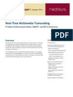 Paper Real Time Multimedia Transcoding Wp Final - RADISYS