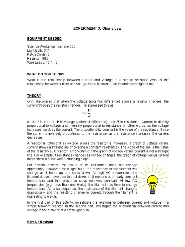 resistance of a filament bulb experiment