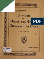 """Chile, """"Historia de la Orden del Carmen Descalzo en Chile, 1899 - 1935"""", Tomo 3"""