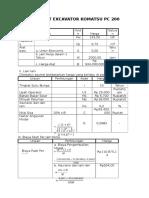 Analisis Alat Excavator Komatsu Pc 200