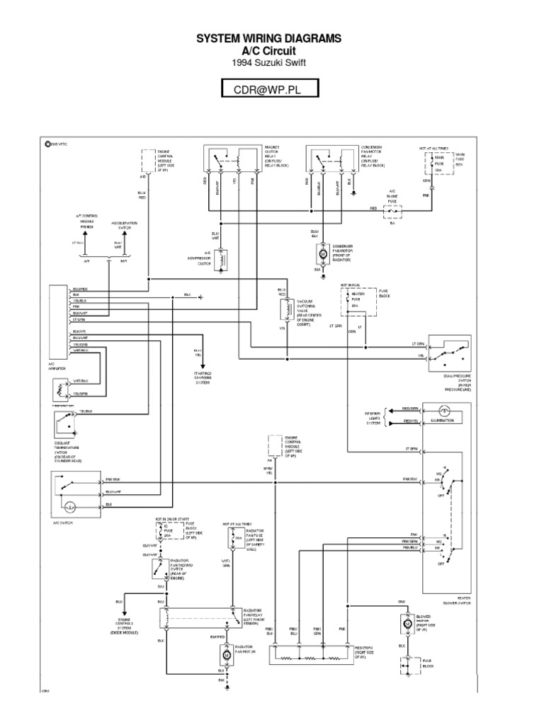 Suzuki Swift Wiring Diagrams 1994