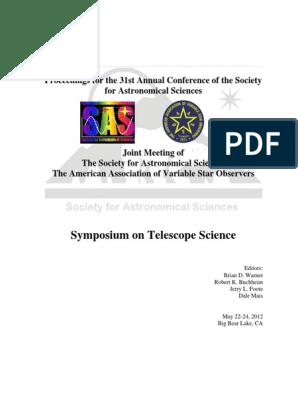 SAS 2012 Proceedings | Milky Way | Astronomical Objects