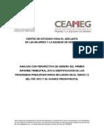 Análisis Con Perspectiva de Género Del Primer Informe Trimestral 2015