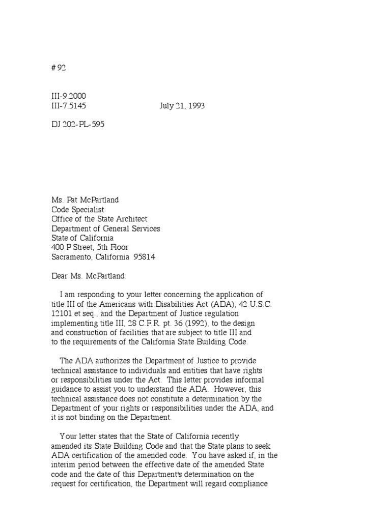 Us Department Of Justice Civil Rights Division Letter Cltr092