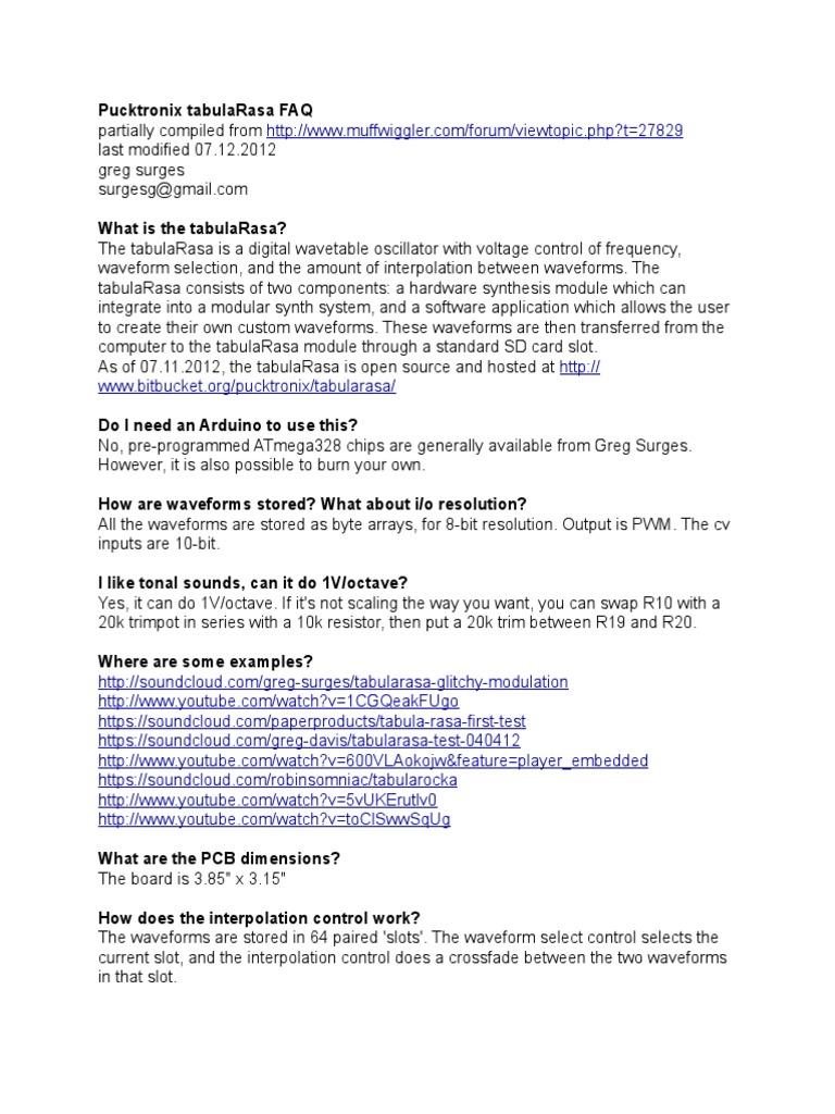 tabulaRasa FAQ | Synthesizer | Resistor