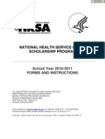 National Health Service Corps Scholarship Program Application  ||  Department of Health and Human Services - Health Resources and Services Administration - National Health Service Corps Scholarship Program - Application School Year 2010-2011- forms DHHS HRSA NHSC Scholarship program   formsHRSANHSC