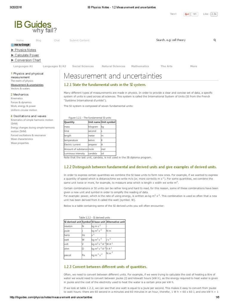 Ib physics notes 1pdf watt observational error buycottarizona Image collections