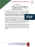 Nota Informativa Aprobacion Mocion Libre de Trata