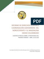 Informe de la Coordinación  Agrominera para la Audiencia de Persistencia del Paramilitarismo