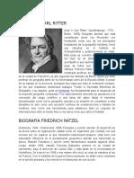 Biografia Karl Ritter, Federico Ratzel, Paul Vidal