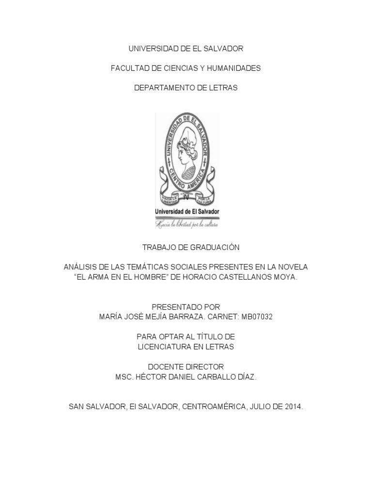 """Análisis de Las Temáticas Sociales Presentes en La Novela """"El Arma ..."""