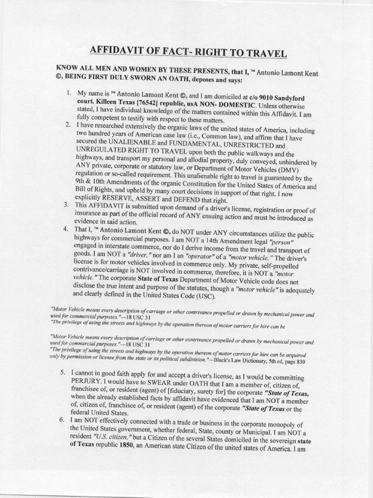 Affidavit of Right to Travel