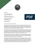 Letter to Gov. Mark Dayton on hostile workplaces